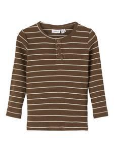 Bilde av Name it, Nmmdrotto brun/hvit ribbet genser